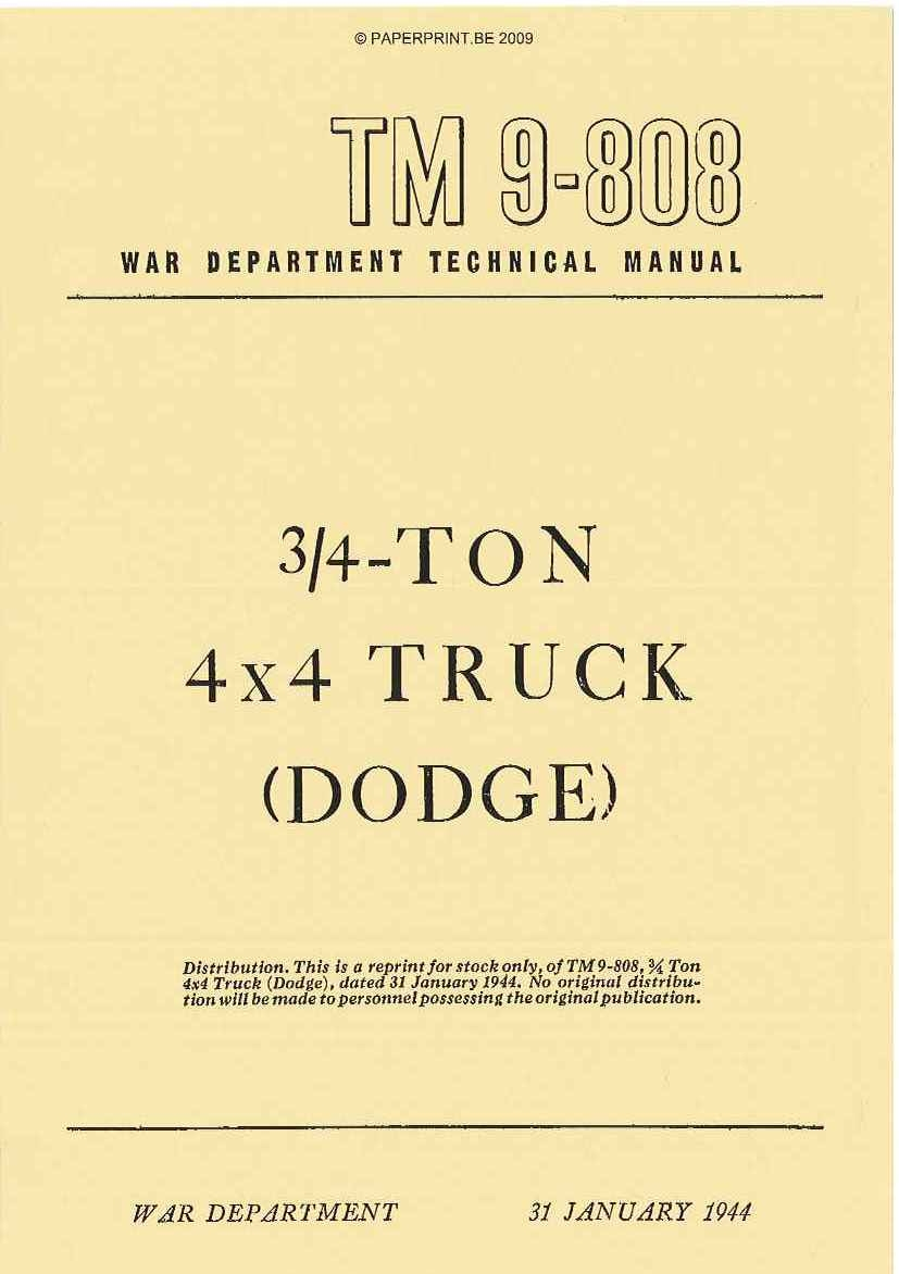 TM 9-808 US ¾ - TON 4x4 TRUCK