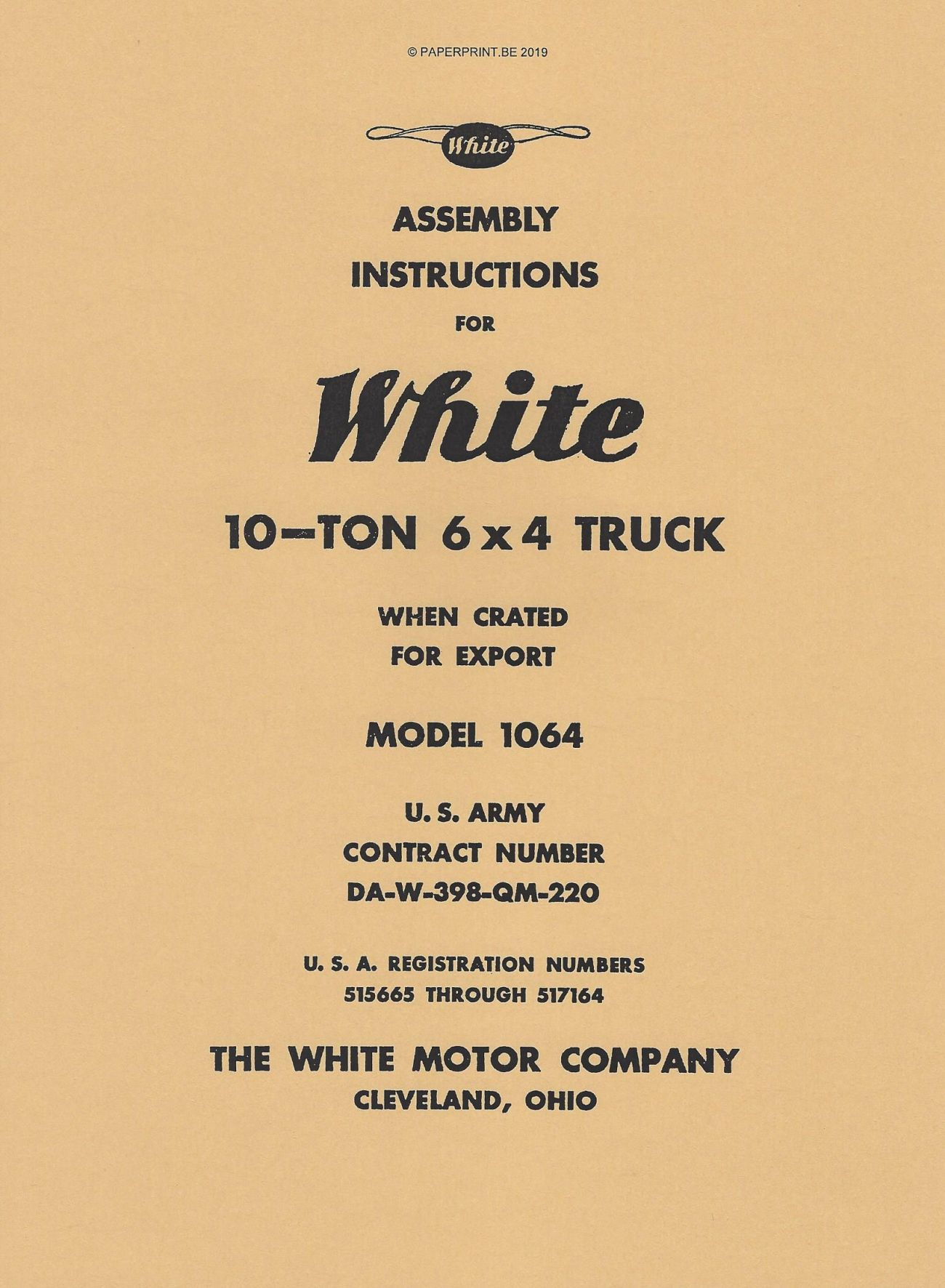 ASSEMBLY INSTRUCTIONS WHITE 6x4 MODEL 1064